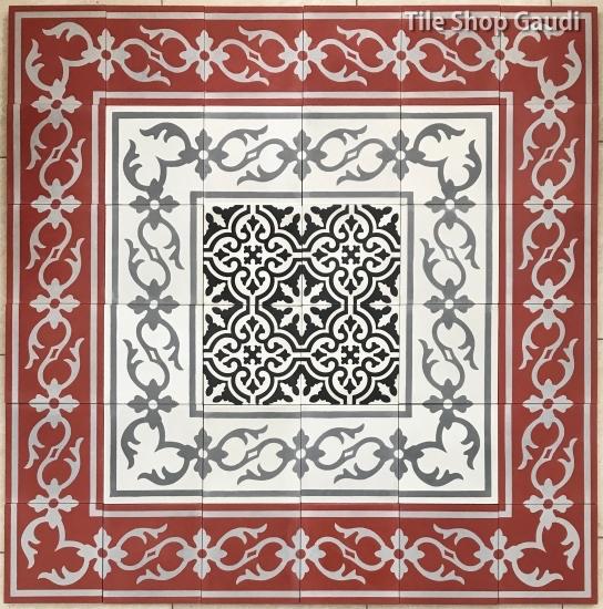 セメントタイル赤・白・黒・グレイの組み合わせ。 バリ島より輸入販売しております。